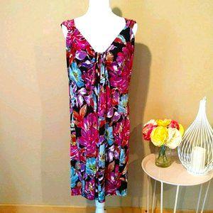London Times Scoopback Sleeveless Midi Dress S 16